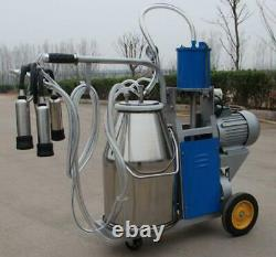 25lelectric Milking Machine Farm Cow 25l Bucket Vacuum Piston Pump Mobile