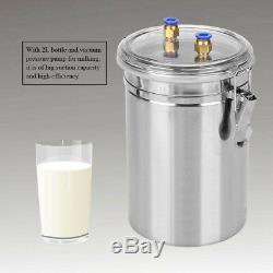 2l 0.5 Gal Vaches Électrique Barrel Ferme Milker Machine Pompe À Vide Traire Bucket