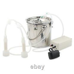 5l Double Head Vacuum Pump Electric Milking Machine Steel For Cow Goat Milker