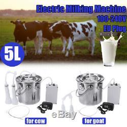 5l Double Tête Électrique Pompe À Traire Machine À Vide En Acier Inoxydable Vache Milker