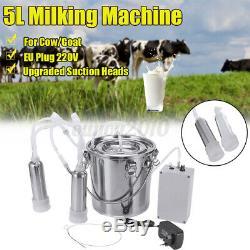 5l Double Tête Ferme Vache Chèvre Machine Traire Mouton Trayeur Pompe À Vide Barils