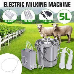 5l Double Tête Machine À Vide Impulse Traire Pompe En Acier Inoxydable Vache Chèvre Milker
