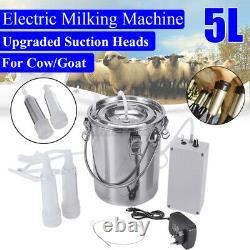 5l Dual Head Farm Milking Machine Cow Goat Sheep Milker Vacuum Pump Barrels K L