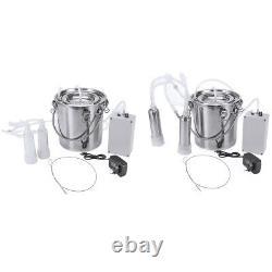 5l Dual Head Farm Milking Machine Cow Goat Sheep Milker Vacuum Pump Barrels L