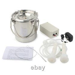 5l Dual Heads Electric Milking Machine Steel Vacuum Pump Cow Goat Milker Plug