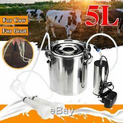 5l Électrique Machine Vache De Chèvre Traire Milker Têtes Réservoir Double En Acier Inoxydable