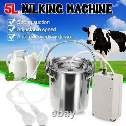 5l Machine De Traite Électrique Pompe D'impulsion À Vide En Acier Inoxydable Cow Milker Cn