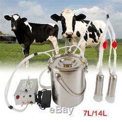 7 / 14l Électrique Traire Machine À Vide Pulsation Milker Barrel Inoxydable Vache Chèvre