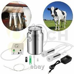 7l 110v Machine De Traite De Vache Pompe À Vide Électrique À Double Tête Milker