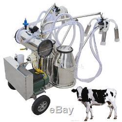 Double Tank Milker Roues Électrique Pompe À Vide Machine À Traire Ferme Vache Mouton
