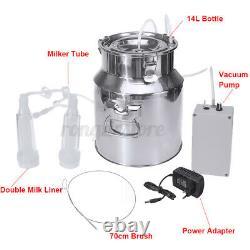 Double Tête 14l Electric Barrel Milking Machine Cow Goat Sheep Milker Vacuum Pump