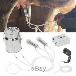 Électrique 14l En Acier Inoxydable Ferme Machine Vache Traire Milker Double Têtes Upgraded