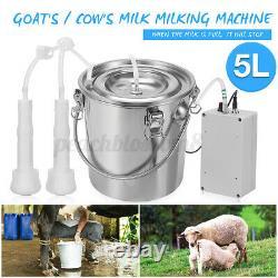 Électrique En Acier Inoxydable 5l Traire Machine Cattle De Vache Trayeur De L'appareil 110