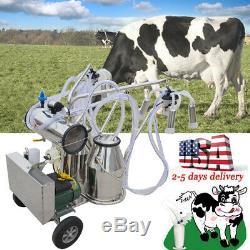 Électrique Machine Double Réservoir Traire Seau Trayeur Pompe À Vide Cow Farm Milk USA