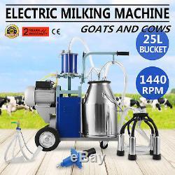 Machine À Traire Électrique De 25l Pour Des Vaches De Chèvres Withbucket Pompe À Vide 550w 2 Prise