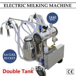 Machine À Traire Électrique De Pompe À Vide De Double Réservoir Pour Des Vaches Et Des Bovins 2-5 Expédiés