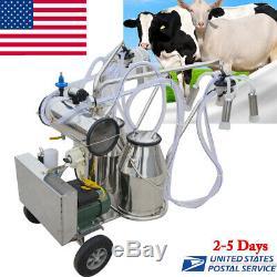 Machine À Traire Électrique De Pompe À Vide Électrique De Double Réservoir Portatif Pour La Ferme De Vaches