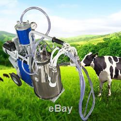 Machine À Traire Électrique De Pompe À Vide Pour Des Vaches De Ferme + Seau 25l + Roues Portatives