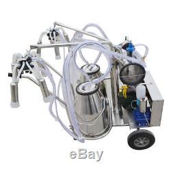 Machine À Traire Électrique Double Réservoir 25kg Seau Milker Pompe À Vide Vache