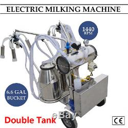 Machine À Traire Électrique Portative De Pompe À Vide De Milker De Double Réservoir Pour La Ferme De Vaches