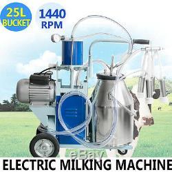 Machine À Traire Électrique Portative Vaches Laitières En Acier Inoxydable + Baril De Seau De 25l