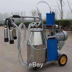 Machine À Traire Électrique Pour Des Vaches De Ferme + Pompe À Vide De Piston De Roue De Seau De 25 L
