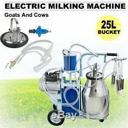 Machine À Traire Électrique Pour Seau Des Vaches 25l De Chèvres Avec Pompe À Vide À Piston À Roues