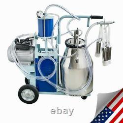 Machine Électrique De Traite Pour Des Vaches Bucket Stainless Steel +auto Vacuum Pump Nouveau