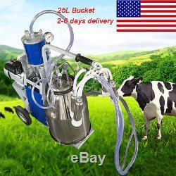 Navire Américain! Machine À Traire Électrique De Pompe À Vide De Piston De Milker Pour Le Seau 25l De Vaches