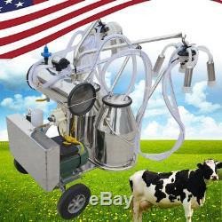 Pompe À Vide Électrique De Trayeur De Machine À Traire Électrique De Double Réservoir Mobile Pour Des Vaches