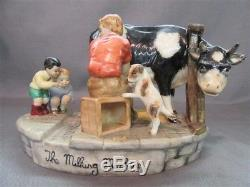 Rare Porcelaine Irlandaise De Mz Groupant La Vache Et Les Enfants De Machine À Traire