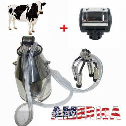 Vache À Lait 25l Vache Machine À Traire + Pulsateur Pneumatique L80 Pour Fermier Vache