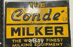 Vache Laitière Vintage Conde Milker Signe Étain Signe Gaufrée Farm Rare
