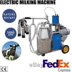 Vaches De Ferme De Machine À Traire Électrique Des Etats-unis 6.6gal Seau D'acier Inoxydable 12cows / Hour