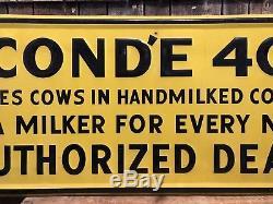 Vintage Conde 400 Vache Laitière Ferme Laitière Revendeur Étain En Relief Signe 49 X 19