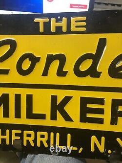 Vintage Conde Milker Embossed Metal Sign Milk Farm Vache Sherrill Ny