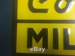 Vintage Conde Milker Signe En Métal Embossé Laiterie Farm Cow Sherrill Ny
