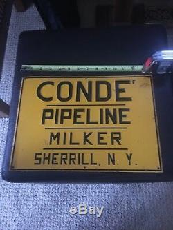 Vintage Conde Pipeline Milker Relief Metal Sign Milk Farm Cow Sherrill Ny