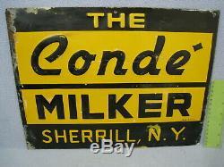 Vintage Conde Pipeline Milker Signe En Métal Gaufré Sherpill, Ny