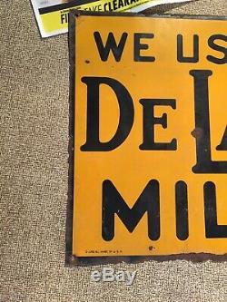 Vintage Nous Les Delaval Milker Pancarte De Métal Ferme De La Vache Laitière Alimentation Semences 1941