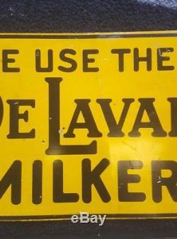 Vintage Nous Utilisons Delaval Milker Signe Dairy Vache Ferme Feed Seed Farmhouse