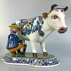 Vintage Royal Tichelaar Makkum Delft Polychrome Vache Trayeur (grand)