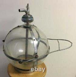Vtg Métal Verre Corvée-boy Traire Machine Globe Container Bouteille De Vache Laitière Ferme